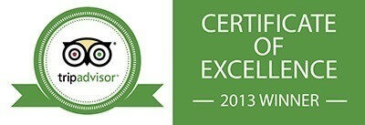 Trip Advisor: Certificate of Recommendation (2013 Winner)